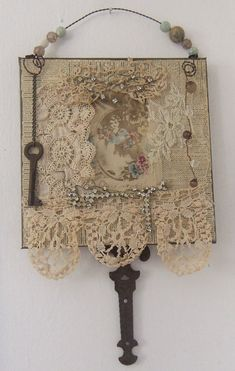 Art Lace Collage Altered Fabric Wall Hanging 1119 Assemblage Art