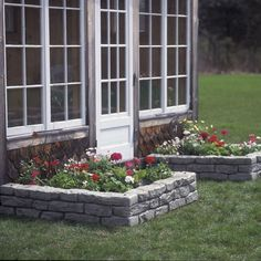 RTS Home Accents - Rock Lock Raised Garden Bed with Spikes and 4 Straight Pieces - 48 in. W x 48 in. D x 10 in. Look and feel of real stone. 4 straight pieces and 18 in. Raised Garden Bed Kits, Raised Flower Beds, Raised Beds, Landscaping With Rocks, Front Yard Landscaping, Landscaping Ideas, Mulch Landscaping, Home Depot Landscaping, Landscape Design