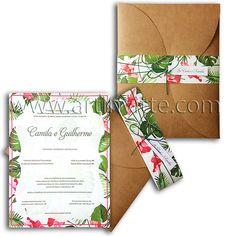 Lindo convite de casamento rústico floral Haia HA 018. Veja este e outros modelos meste estilo em www.artinvitte.com Convites de casamento   Convites Rústicos   Convites Florais   Convites lindos