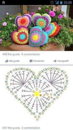 Most current Absolutely Free Cute crochet pillow Popular Herz mit Häkelschrift Crochet Pillow Pattern, Crochet Motifs, Crochet Chart, Crochet Squares, Diy Crochet, Crochet Doilies, Crochet Flowers, Crochet Stitches, Crochet Patterns