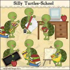 Silly Turtles School 1 - Whimsical Clip Art by Cheryl Seslar