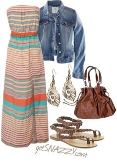 Summer outfit collection of maxi dress, denim jacket, handbag and sandals