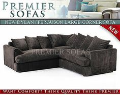 BRAND NEW FERGUSON CORNER SOFA JUMBO CORD FABRIC SUITE / SCATTER BACK CUSHIONS  £399