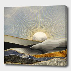 Stunning Morning Sun wall mural from Wallsauce. This high quality Morning Sun wallpaper is custom made to your dimensions. FREE UK delivery within 2 to 4 working days. Canvas Artwork, Canvas Art Prints, Framed Art Prints, Wall Prints, Morning Sun, Art Soleil, Sun Art, Deco Design, Abstract Landscape