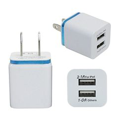 USB Wall ChargerFUA Home Travel Dual Port AC USB Wall Charger for iPhone for Samsung Galaxy Blue -- To view further for this item, visit the image link.