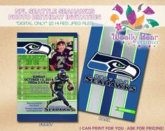 Printable NFL Seattle Seahawks Birthday Invitation by WoollyBearStudio