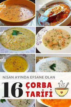 Hanımlar beyler toplanın, Nisan ayında Türkiye sınırları içerisinde pişirilmiş en lezzetli çorba tarifi listesi geliyor! Birbirinden nefis tam 16 farklı çorba tarifi kolay yapılışları ve resimli, püf noktaları anlatımlarıyla her evin mutfağında pişirilebilecek türden! Değişik çorbalar için tıklayın!