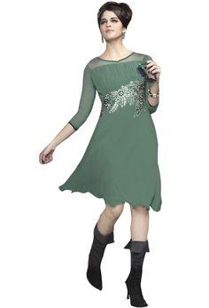 Readymade #Dull #Green #Georgette #Kurti #nikvik  #usa #designer #australia #canada #freeshipping