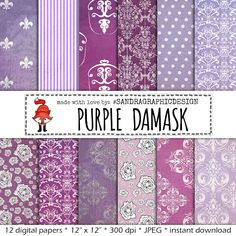 "New to SandraGraphicDesign on Etsy: Damask digital paper: ""PURPLE PAPER"" with various grungy damask patterned background papers in the color purple (1017) (3.75 USD)"