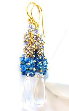"Luxury Crystal Quartz and Iolite Earrings ""Midnight"": NYC designer jewelry"