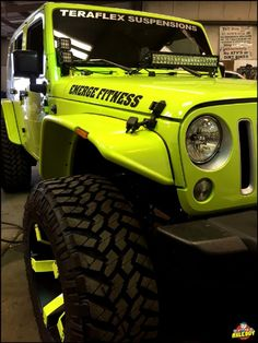 Hyper green 2016 Jeep Wrangler getting Rigid LED lights mounted on the A-pillar and hood. Green Jeep Wrangler, Jeep Wrangler Lifted, Jeep Rubicon, Jeep Jk, Jeep Truck, Jeep Wrangler Unlimited, Wrangler Sport, Hummer, Jeep Shop