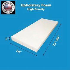 """High Density #FoamTouch Upholstery Foam size 5"""" X 24"""" X (73-96)"""" Custom Cut"""