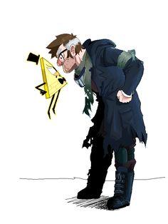 Stanley VS Bill>>>AMAZINNNG digital art by unknown based on Alex Hirsch's Gravity Falls!!!!
