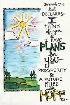 Bible Verse Isaiah Jeremiah 29:11 Hope and Plans for You Illustrated Watercolor print-Bible Journaling
