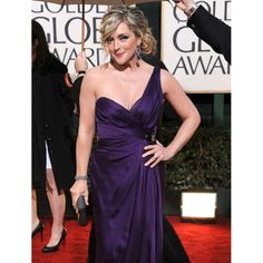 Jane Krakowski Purple Discount Formal Dress at 2010 Golden Globe Awards Red Carpet