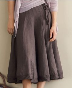 Reverse Pleat Linen Skirt in Mauve. Nice and relaxed, yet still pretty.