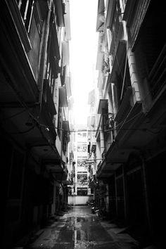 One typical narrow lane in Hanoi