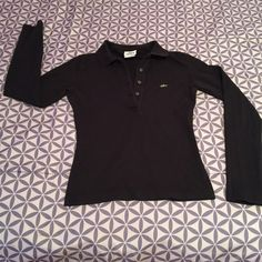 Collar Long Sleeve Lacoste Shirt! All Black worn 3-4 times very cute tight! Thick Material! Lacoste Tops