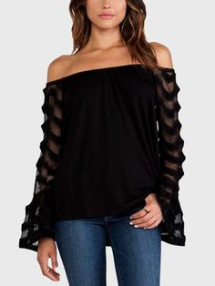 With this off-shoulder top, you will remember that simplicity is the highest form of comfort. It comes with long sleeves, off shoulder and patchwork design. Team this top with your skinny jeans for a fashion autumn look.