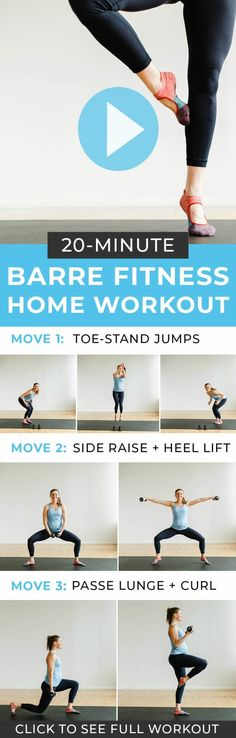 Grab this free barre workout video here! This 20 minute at home workout video is. Grab this free barre workout video here! This 20 minute at home workout video is. Barre Exercises At Home, Barre Workout Video, Cardio Barre, Home Workout Videos, Youtube Workout, Pilates Workout, At Home Workouts, Free Workout, Pop Pilates