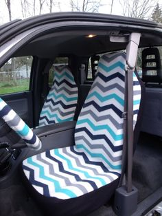 1 Set of Chevron Print Car Seat Covers and Steering Wheel Cover Custom Made