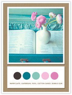 Colour Palette: warm slate, caribbean, pool, cotton candy, bubble gum