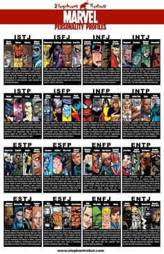 Marvel Comics Myers-Briggs Personalty Chart- I'm a mix of INFJ and INFP- Jean Grey?<< ironman, Deadpool, and Rocket Raccoon! Go ENTP! Myers Briggs Personalities, Myers Briggs Personality Types, Marvel Comic Books, Marvel Comics, Marvel Avengers, Marvel Characters, Book Characters, Hawkeye Marvel, Comics