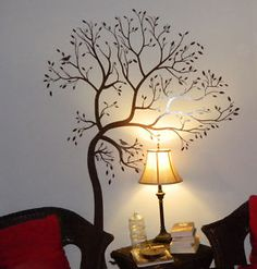 LARGE TREE WITH BIRD - COLOR: DARK BROWN - Wall Decal Deco Art Sticker Mural