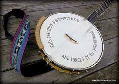 Pete Seeger inspired banjo head art from Moonblossom.