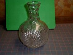 Vintage Tall Liquor Decanter with Diamond Pattern Clear Glass $13.95