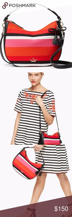 """Kate Spade Fabric Hobo Red Pink White NWT KATE SPADE Hayes Street FABRIC SMALL AIDEN Hobo   Boasting a classic, clean-lined shape and made with a bright, striped fabric, this Small Aiden is both stylish and versatile. Carry it by the handle or attach the optional crossbody strap for a great go-anywhere bag.  Pebbled Leather and Fabric Exterior Faux Nappa Lining Leather Tasseled Bow Accent 14K Lt Gold Plated Hardware Adjustable Crossbody Strap (22"""" Drop) Zip Top Closure Interior Slip Pocket…"""