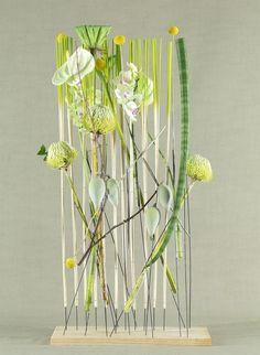 'Clean and Green' design, by Mark Pampling, featured in Fusion Flowers Magazine… Contemporary Flower Arrangements, Unique Flower Arrangements, Ikebana Flower Arrangement, Art Floral, Deco Floral, Floral Design, Vertical Garden Plants, Transparent Flowers, Corporate Flowers
