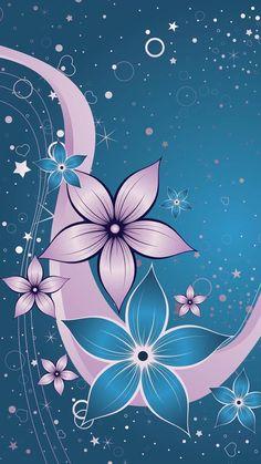 By Artist Unknown. Flower Iphone Wallpaper, Phone Screen Wallpaper, More Wallpaper, Computer Wallpaper, Cellphone Wallpaper, Pattern Wallpaper, Wallpaper Backgrounds, Blue Wallpapers, Pretty Wallpapers