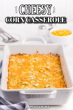Cheesy Corn Casserole - A comforting casserole dish loaded with sweet corn, cheese and a crunchy soda cracker topping. Cheesy Corn Casserole Recipe, Casserole Dishes, Casserole Recipes, Soup Recipes, Cooking Recipes, Cheesy Zucchini Bake, Veggie Side Dishes, Thanksgiving Side Dishes, Corn Cheese