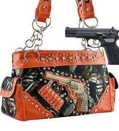 Orange Pistol Purse With Rhinestone Conceal and Carry Purse  #BNBNaturalCamo #Hobo