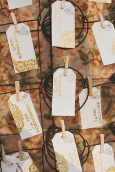 hang tags decorated with gold doily detailing // photo by AnnaJayePhotography.com
