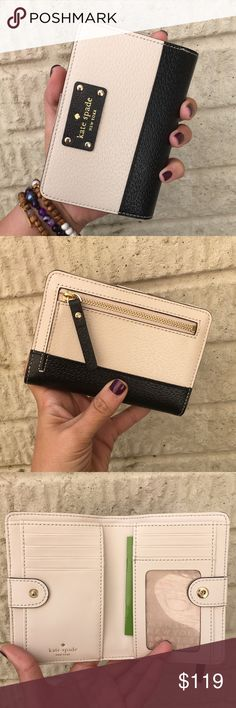 """NWT Kate Spade Two Tone Leather Wallet Brand New with tags leather wallet in Two Tone Leather  Snap closure  6 CC slots  1 ID slot Bill slots  Outer zipped compartment for coins  Approximately 5"""" x 4.5"""" kate spade Bags Wallets"""