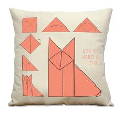 """Fox Origami Instructions Pillow - 16"""" Handmade Printed Pillow Cover Including Insert  Ask a Question ₪80.17 ILS"""
