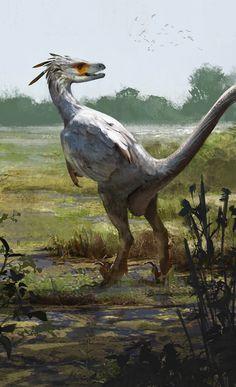 Saurornitholestes sullivani, in North America by Jonathan Kuo