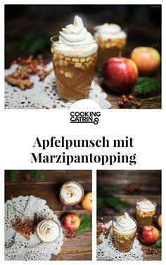 Apfelpunsch mit Marzipantopping Rezept für Fruchtpunsch, Punsch mit Topping, Punsch Rezept, hausgemachter Apfelpunsch. Apple punsch, punsch with topping, christmas recipes, advent recipe, christmas drink