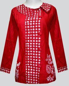 Blouse Batik, Batik Dress, Mode Batik, Quilted Clothes, Red Clothing, Batik Fashion, Blouse Models, Blouse And Skirt, African Attire