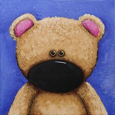 'Teddy Bear' by Lucia Stewart - Painting is Acrylic on Canvas @fineartamerica.com you can buy this in various forms<3<3<3