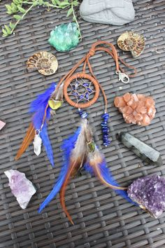 Dream Catcher Crystal Quartz Pendant with Dark Blue & Brown, Rear View Mirror Charm Accessory