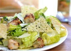 Chicken Caesar Salad with Homemade Cheese Crisps