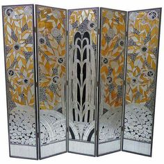 Gorgeous Art Deco Revival Five Panel Screen After Edgar Brandt