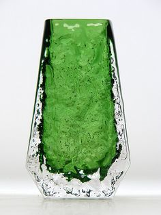 "Whitefriars meadow green cased ""coffin"" glass vase. Pattern number 9686. Designed by Geoffrey Baxter."