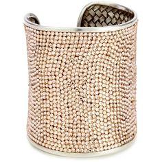 "Deanna Hamro Atelier ""Lulu"" Light Peach Wide Pave Cuff Bracelet ❤ liked on Polyvore"