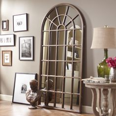 "Cathedral Style Arch Floor Mirror 83""h"