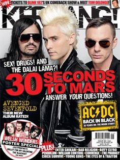 On the cover of this weeks Kerrang! Thirty Seconds, 30 Seconds, Tom Delonge, Rock Sound, Workshop Design, Blink 182, Jared Leto, Back To Black, Cool Bands