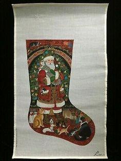 Needlepoint Christmas Stockings, Halloween Banner, Hand Painted Canvas, Needlepoint Canvases, Santa, Kitty, Little Kitty, Kitty Cats, Kitten